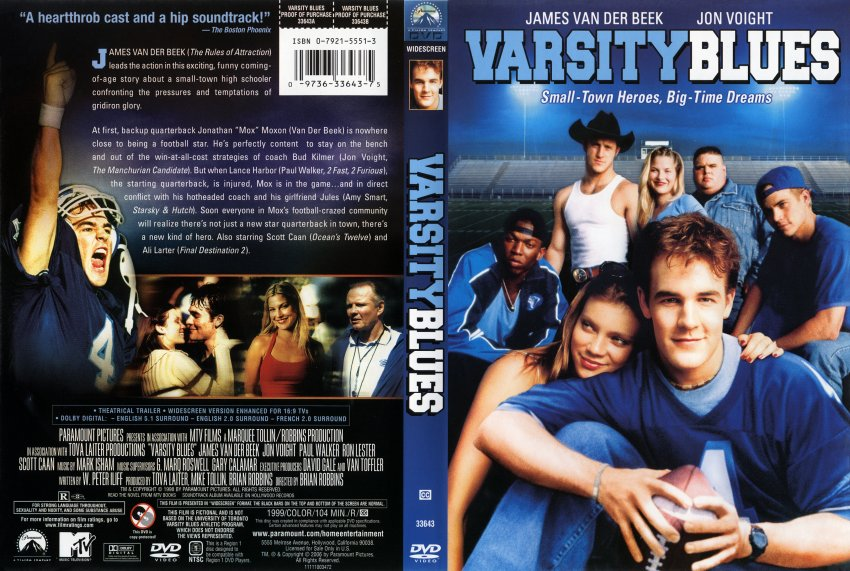 a review of the movie varsity blues Varsity blues script taken from a transcript of the screenplay and/or the james  van der beek football movie  i got your grades under review i can fuck with  your transcripts and get this whole deal blown for you i get what i want, and you  get.