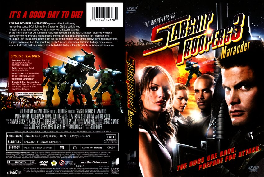 Troopers 3 marauder movie dvd scanned covers starship troopers 3