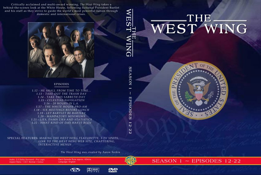 the west wing series 1 episodes 12 22 tv dvd custom covers 43westwing 1 2 cstm hires dvd. Black Bedroom Furniture Sets. Home Design Ideas