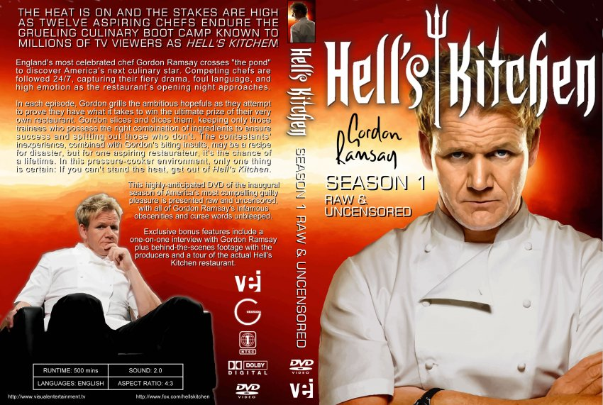 Hell39;s Kitchen Season One  TV DVD Custom Covers  Hells Kitchen S1