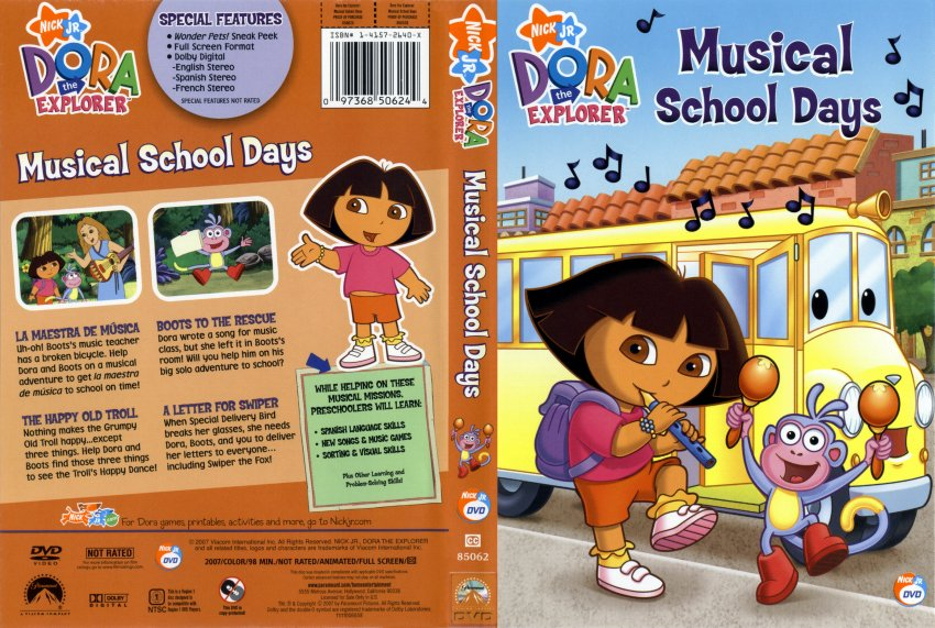 Dora DVD Cover http://www.dvd-covers.org/art/DVD_Covers/TV_DVD_Scanned_Covers/6297Dora-Musical_School_Days.jpg.html