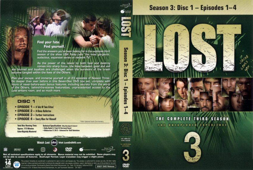 Lost Season 3 - Disc 1 - TV DVD Scanned Covers - Lost S3 :: DVD Covers