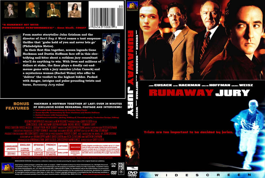 runaway jury movie essay The movie runaway jury touches on some legal aspects that go on in the world of law it starts with the selection of the jury which happens after you get a summons in.
