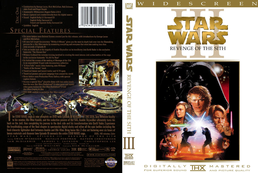 Star Wars - Revenge Of The Sith - Movie DVD Custom Covers ...