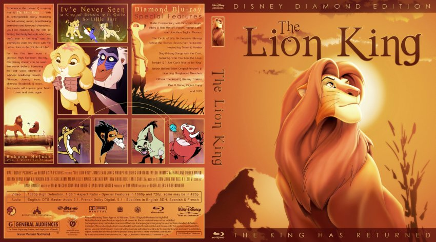 The Lion King - Movie Blu-Ray Custom Covers - The Lion King 001 :: DVD ...
