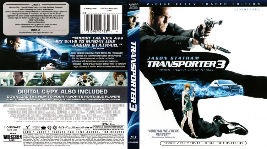 transporter 3 movie blu ray scanned covers transporter 3 scan dvd covers. Black Bedroom Furniture Sets. Home Design Ideas