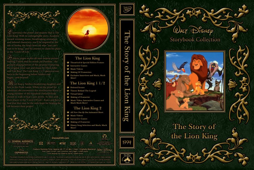 ... Lion King - Movie DVD Custom Covers - 1994 The Story of the Lion King