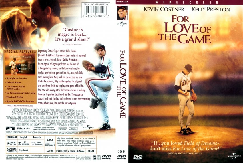 for the love of the game movie dvd custom covers