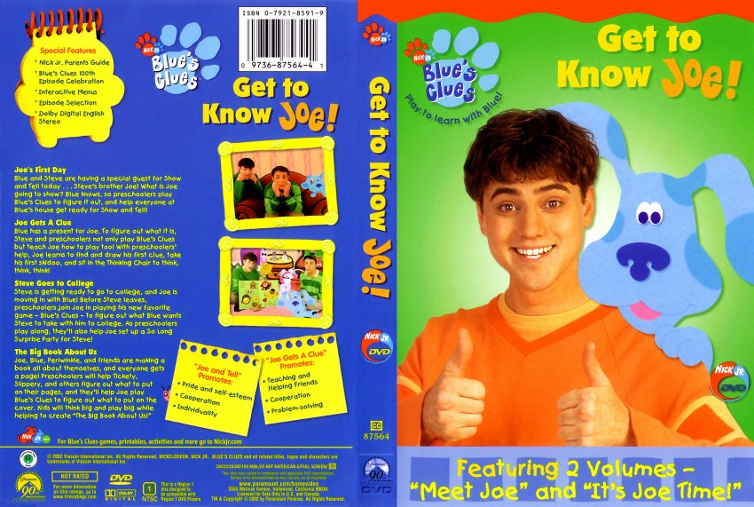 Blues clues get to know joe tv dvd scanned covers blues clues get