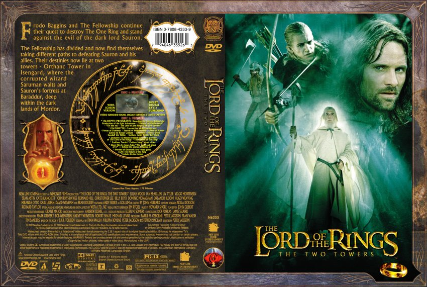 Lord Of The Rings - The Two Towers - Movie DVD Custom ...