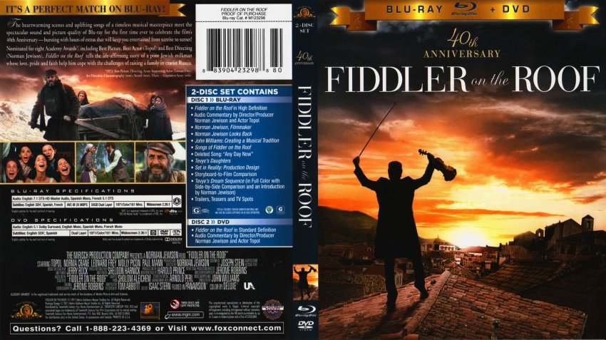 Fiddler On The Roof Movie Blu Ray Scanned Covers
