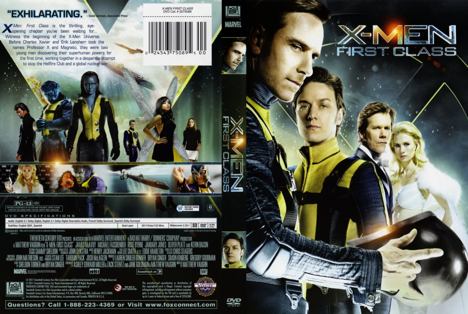 X Men Dvd Cover: X-Men First Class Single Disc Cover