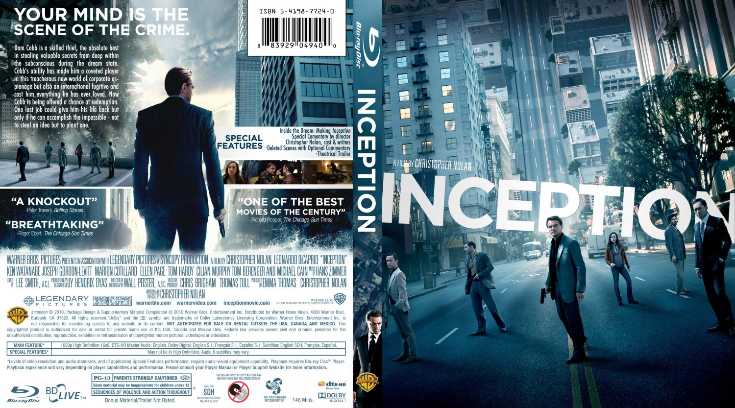 inception blu ray cover movie blu ray custom covers. Black Bedroom Furniture Sets. Home Design Ideas