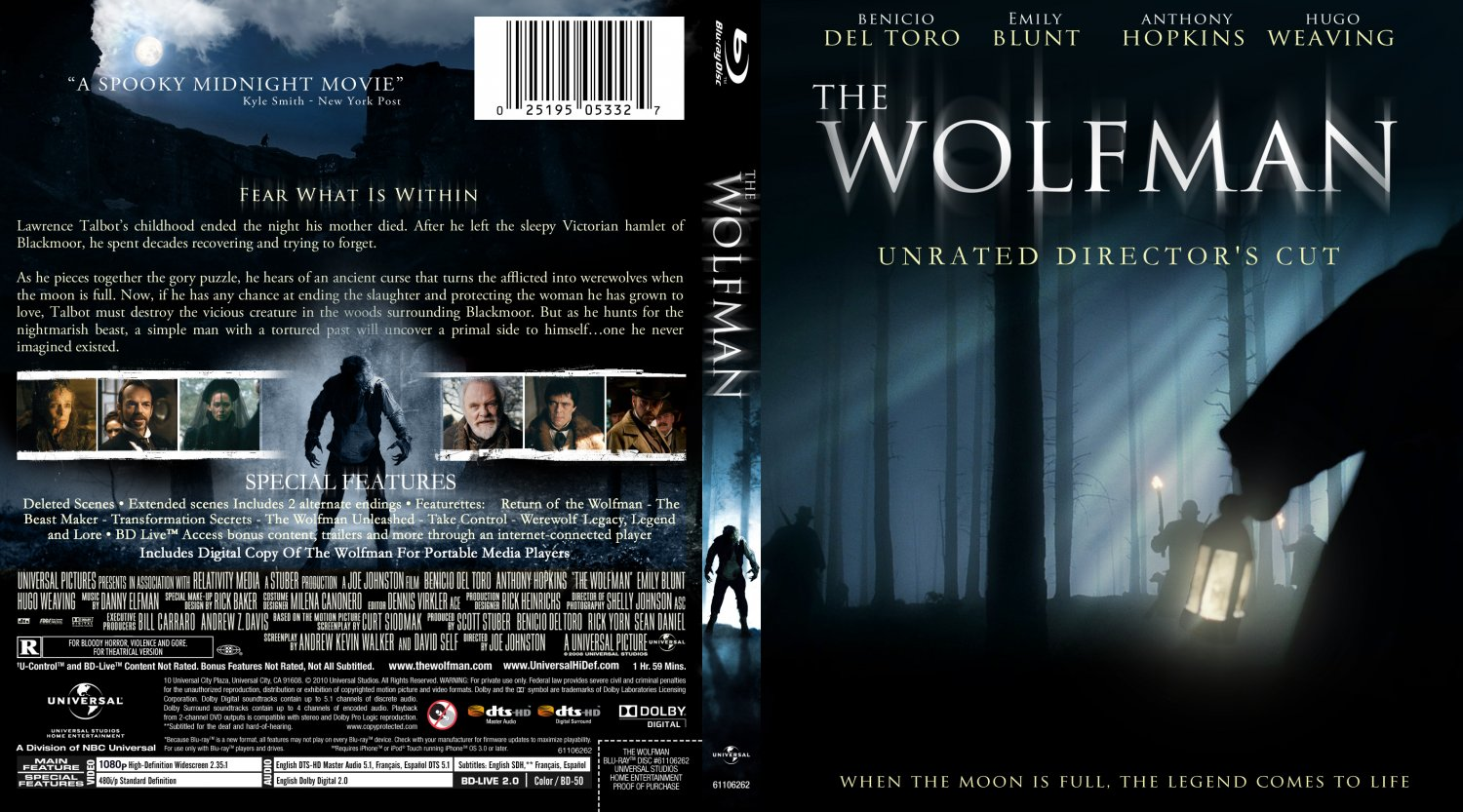 the wolfman movie blu ray custom covers the wolfman. Black Bedroom Furniture Sets. Home Design Ideas