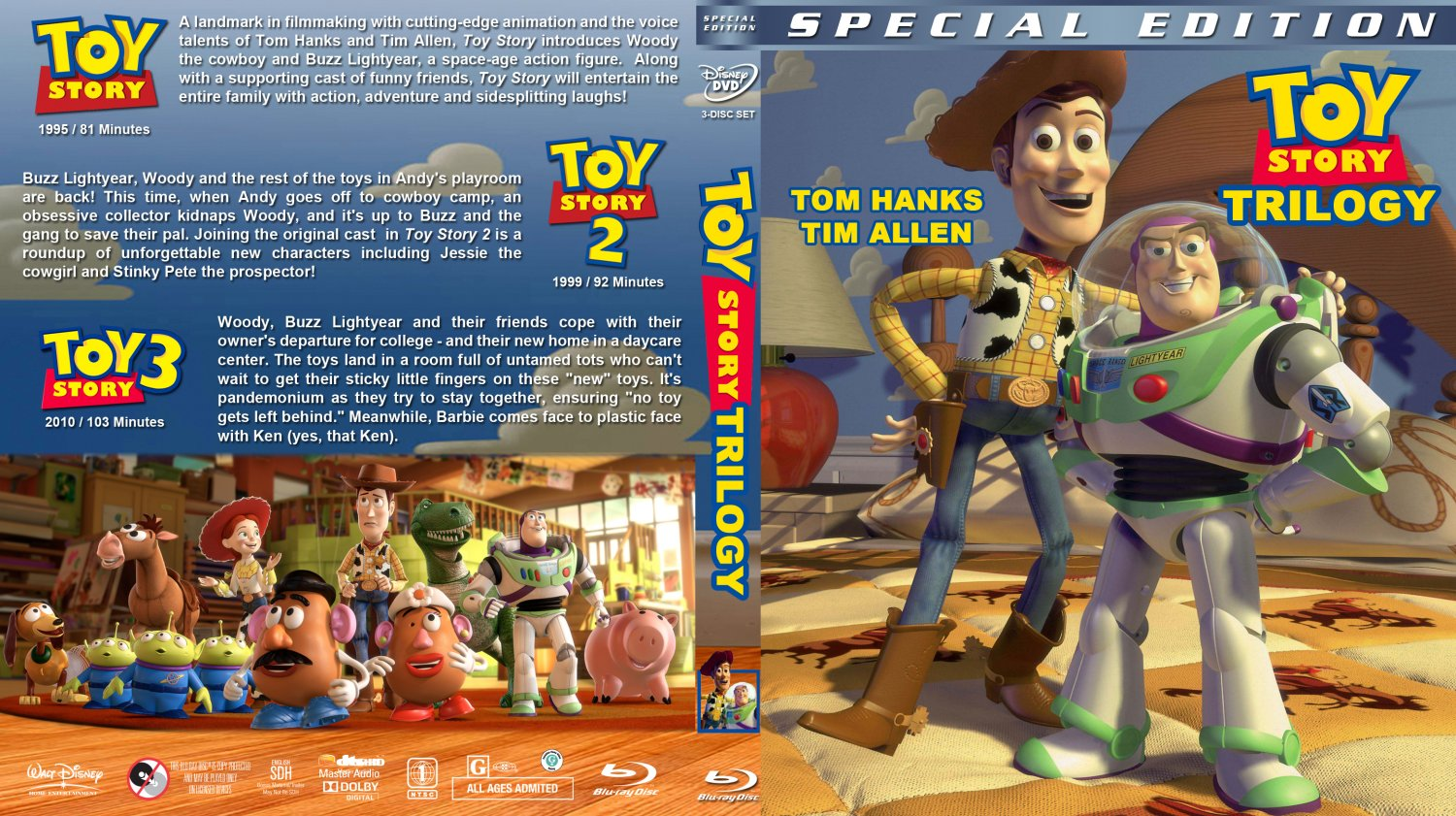 Toy Story Trilogy - Movie Blu-Ray Custom Covers - Toy Story Triple ...