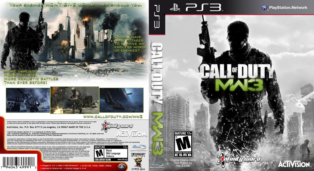 Call Of Duty Modern Warfare 3 Dvd Ntsc Custom Fps3 Playstation