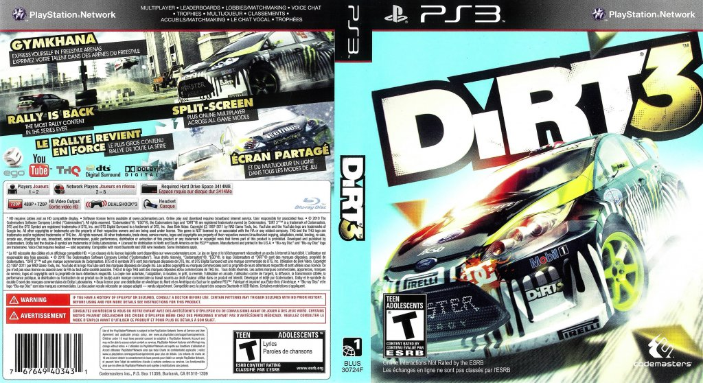 dirt 3 dvd english french ntsc f playstation game covers. Black Bedroom Furniture Sets. Home Design Ideas