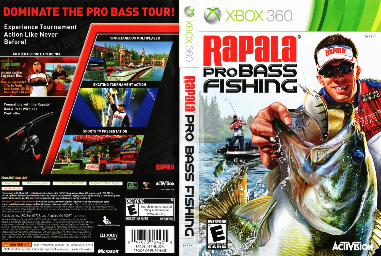 Rapala pro bass fishing dvd ntsc f xbox 360 game covers for Xbox 360 fishing games