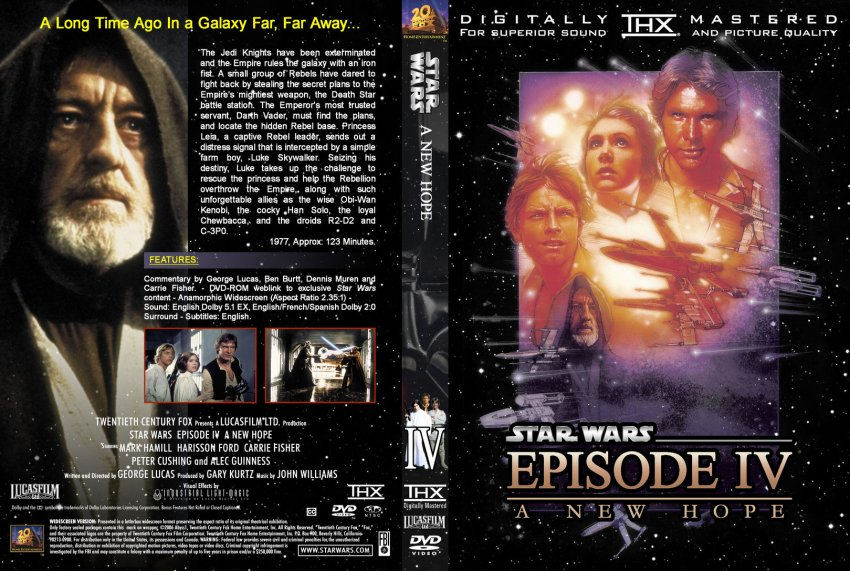 Star Wars Episode Iv A New Hope Movie Dvd Custom Covers 2296starwars4 Dvd Covers
