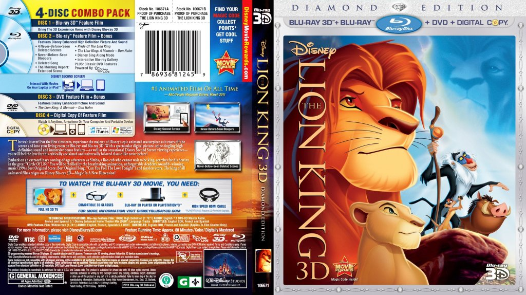 The Lion King 3D Movie Blu Ray Scanned Covers The Lion King 3D ...