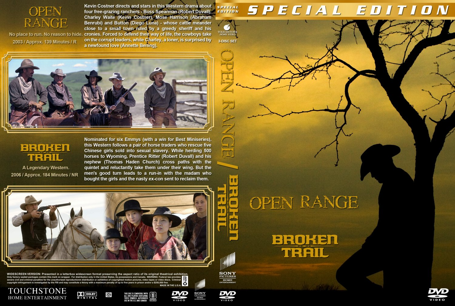 open range broken trail double feature movie dvd custom covers open trail double dvd covers. Black Bedroom Furniture Sets. Home Design Ideas