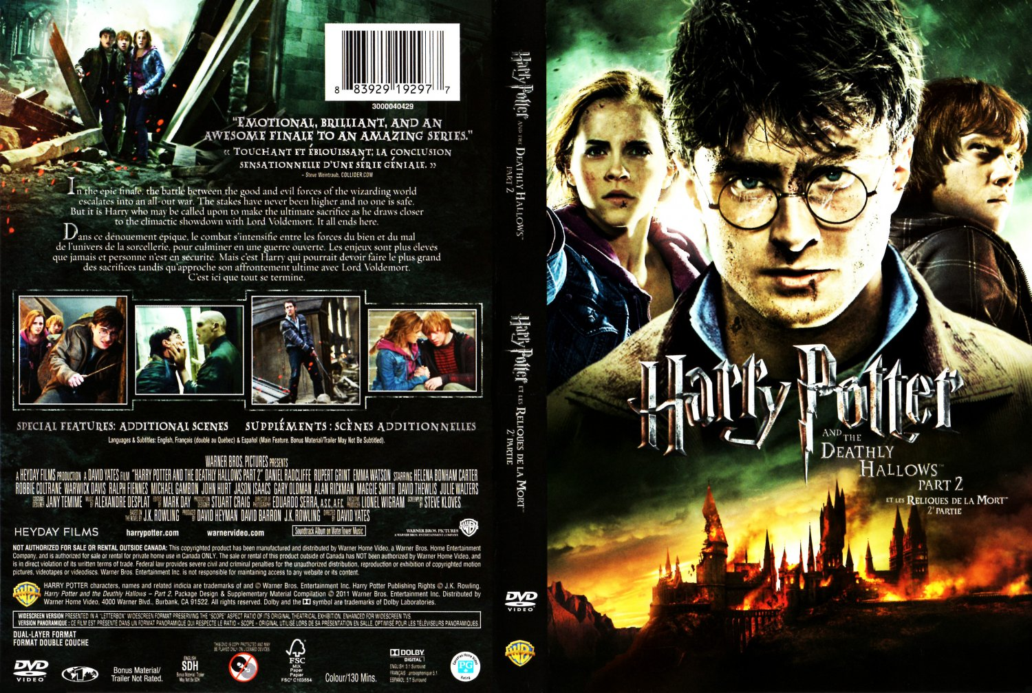 Harry Potter Deathly Hallows Part 2 DVD Cover