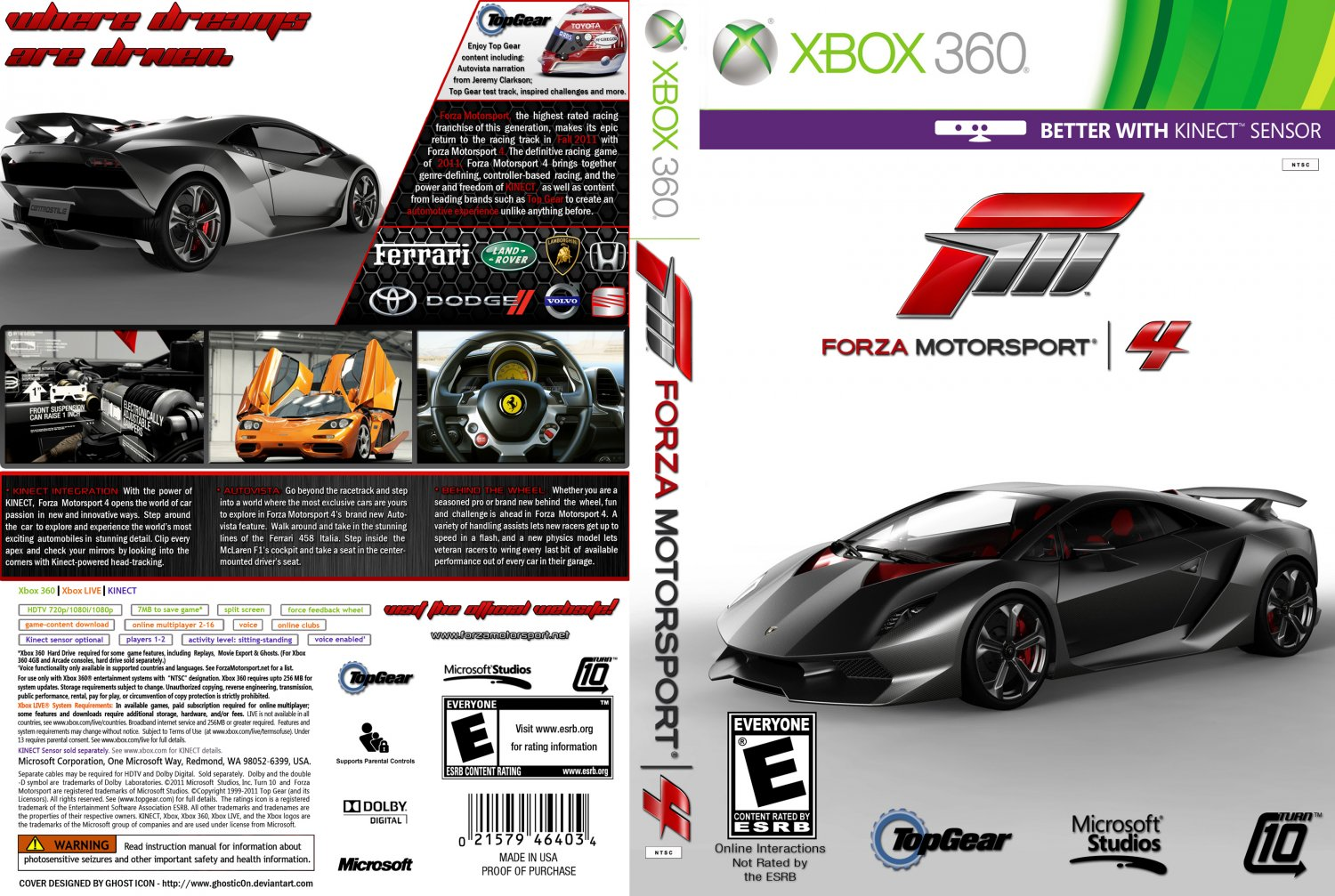 forza motorsport 4 xbox 360 game covers forza motorsport 4 dvd ntsc custom f dvd covers. Black Bedroom Furniture Sets. Home Design Ideas