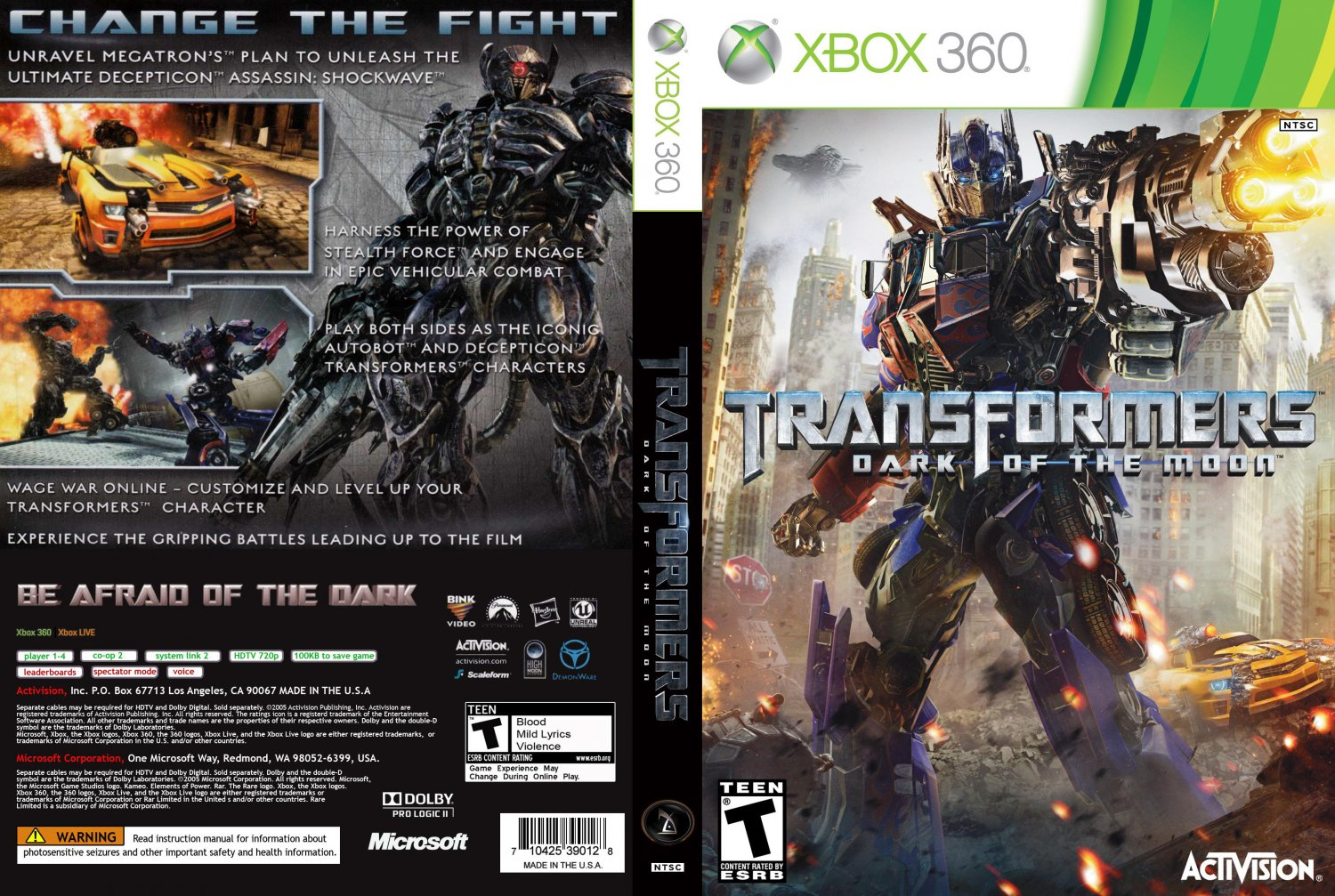 Of The Moon - XBOX 360 Game Covers - Transformers Dark Of The Moon DVD ... Nba 2k14 Custom Covers Xbox