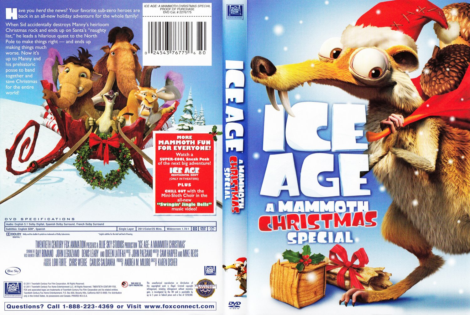 Ice Age A Mammoth Christmas Movie DVD Scanned Covers Ice Age A cfQQbTuA
