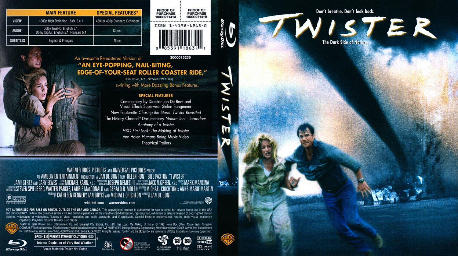 twister movie blu ray scanned covers twister 0001. Black Bedroom Furniture Sets. Home Design Ideas