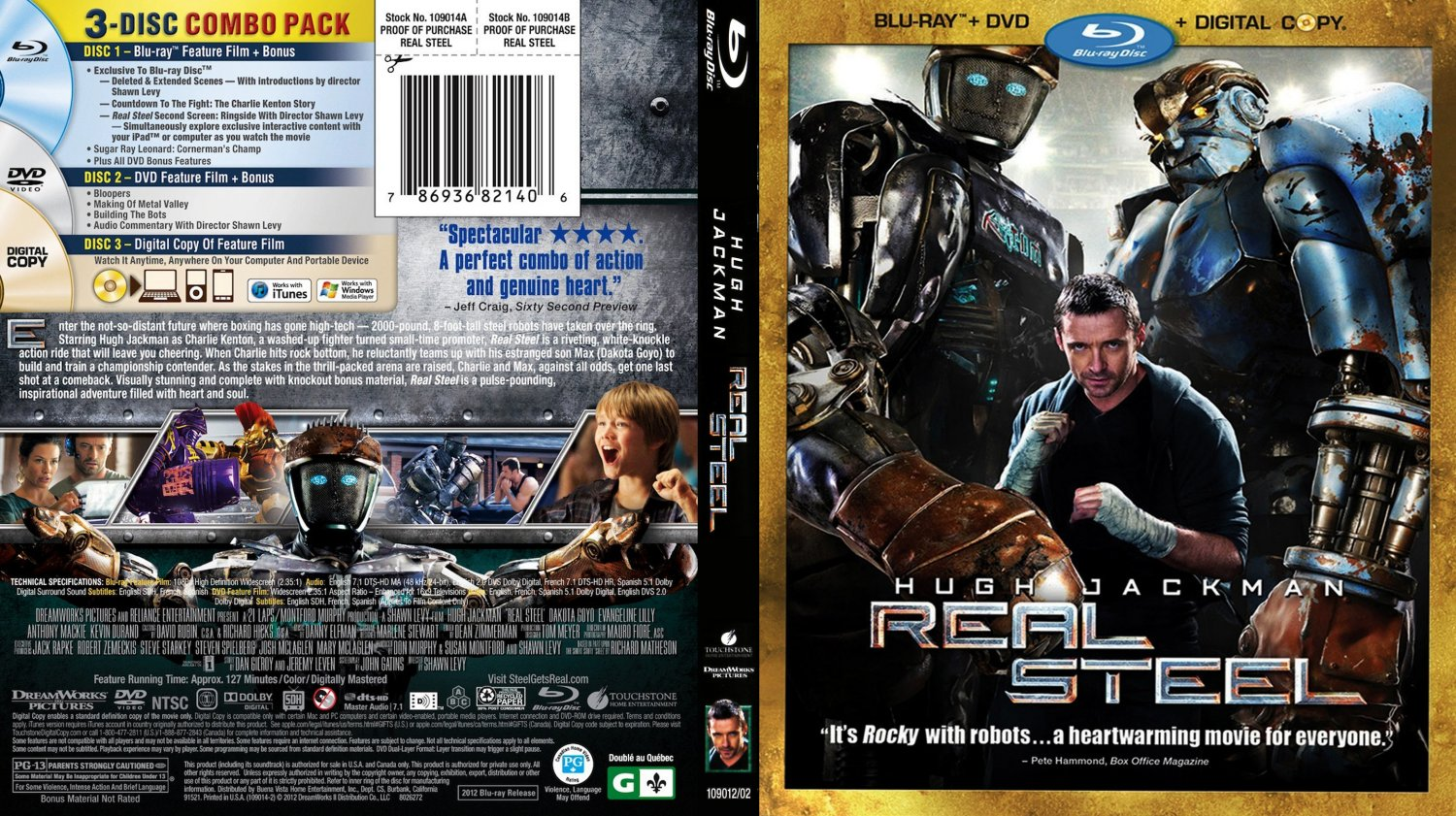 real steel movie blu ray scanned covers real steel. Black Bedroom Furniture Sets. Home Design Ideas