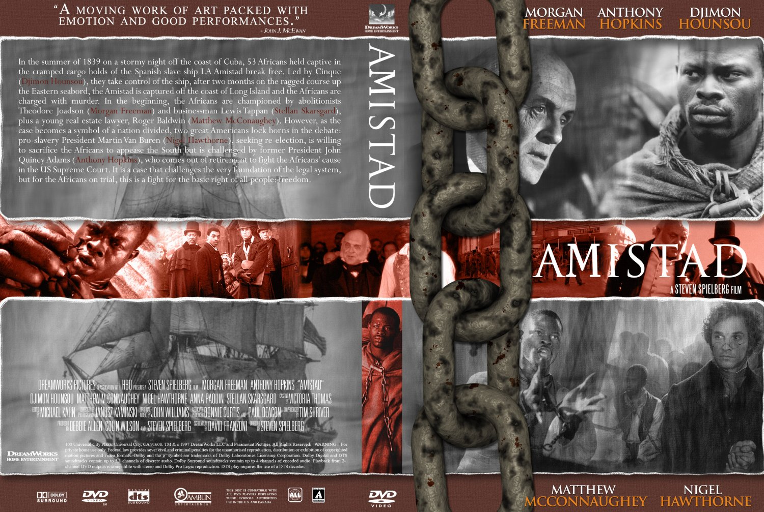 amistad movie Amistad, the motion picture amistad is director steven spielberg's debut motion picture at dreamworks skg the film is due to be released wednesday, december 10th in new york and los angeles and friday, december 12th nationwide however, a motion for preliminary injunction by barbara chase-riboud could postpone the release.