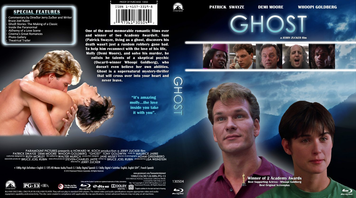 ghost movie blu ray custom covers ghost custom blu ray. Black Bedroom Furniture Sets. Home Design Ideas