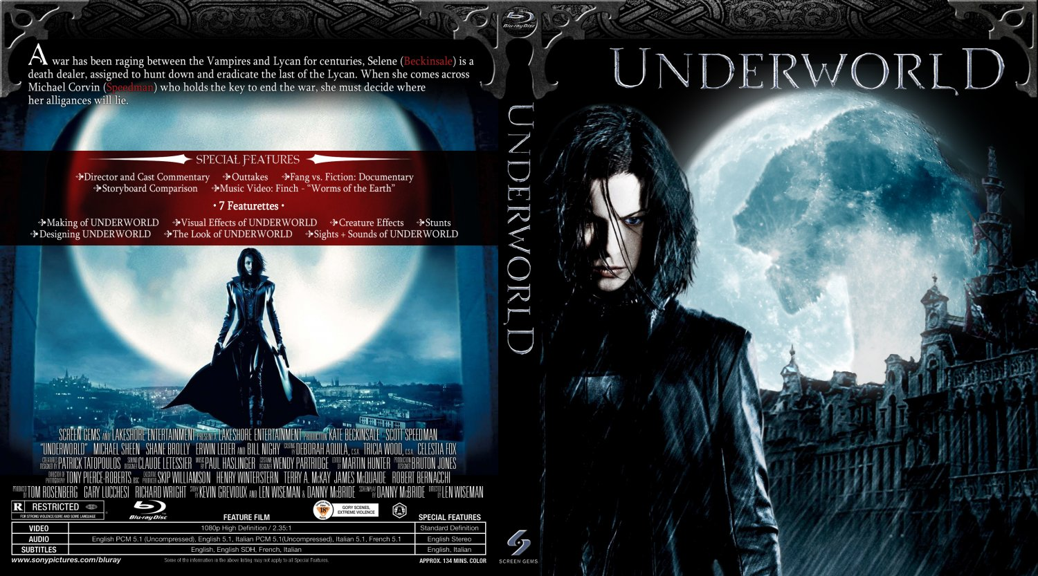underworld movie blu ray custom covers underworld1blu. Black Bedroom Furniture Sets. Home Design Ideas