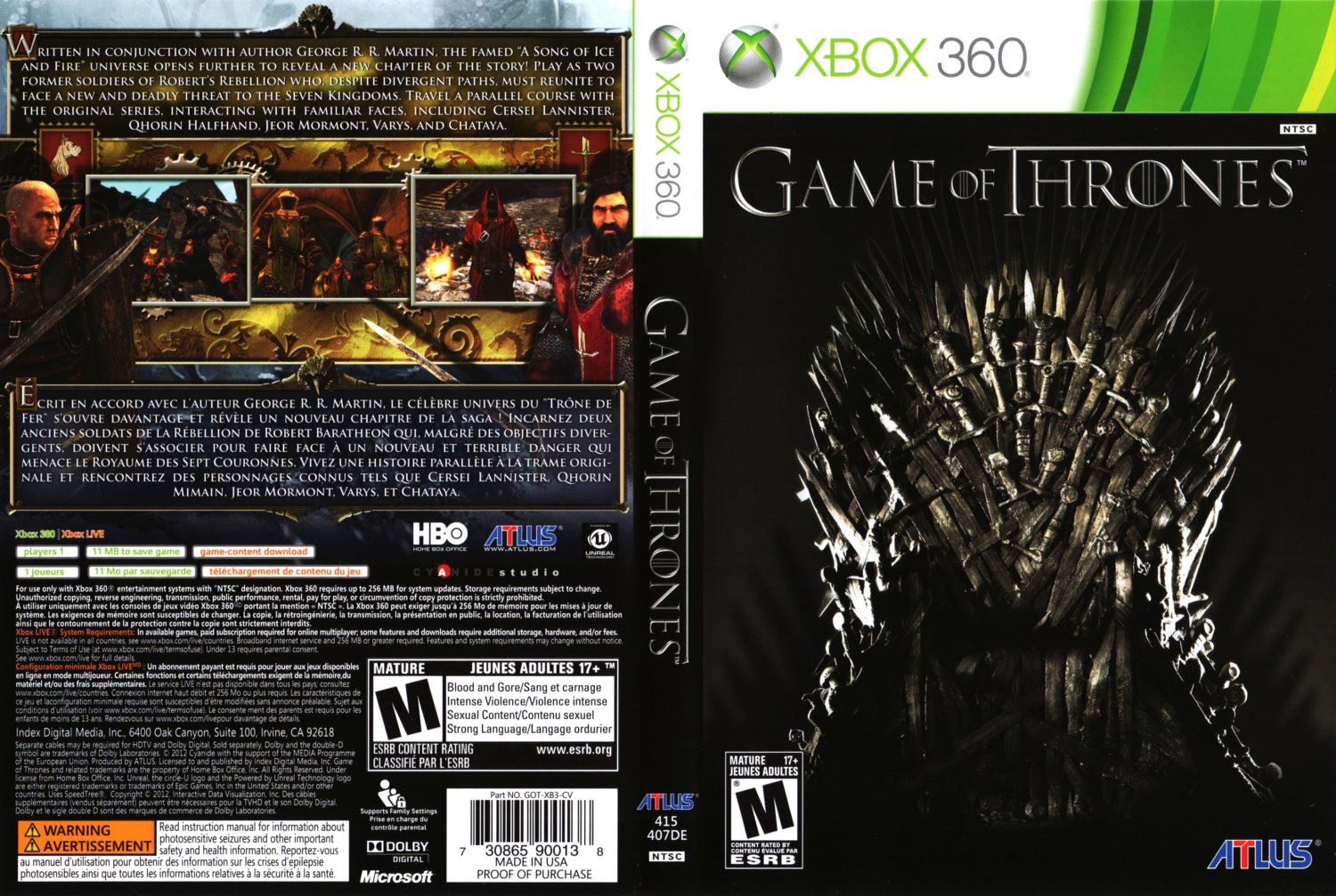 game of thrones xbox 360 game covers game of thrones. Black Bedroom Furniture Sets. Home Design Ideas