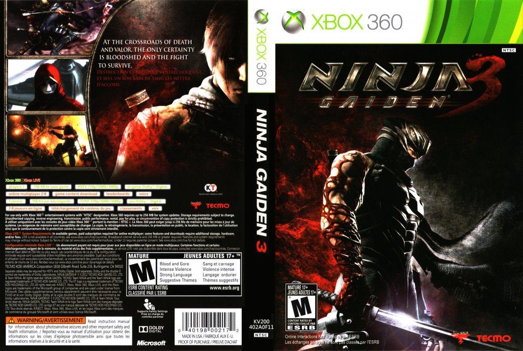 Ninja Gaiden 3 Xbox 360 Game Covers Ninja Gaiden 3 Dvd Ntsc F