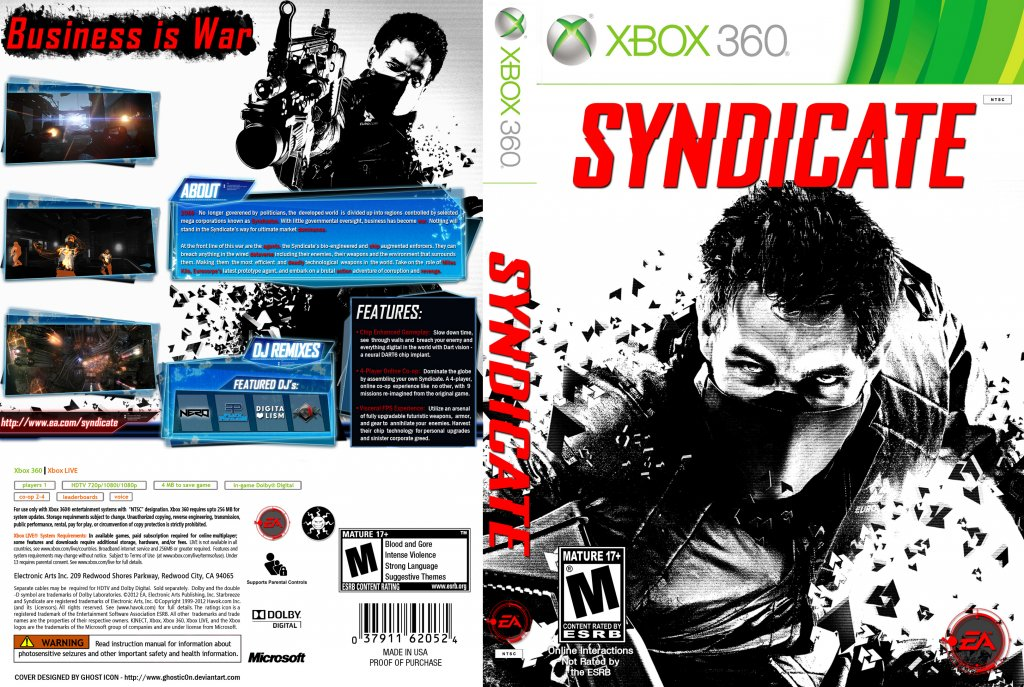 Book Cover Pictures Xbox : Syndicate xbox game covers dvd ntsc