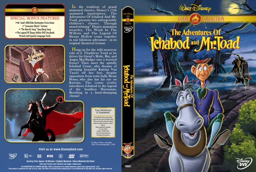 The Adventures Of Ichabod And Mr Toad Movie Dvd Custom