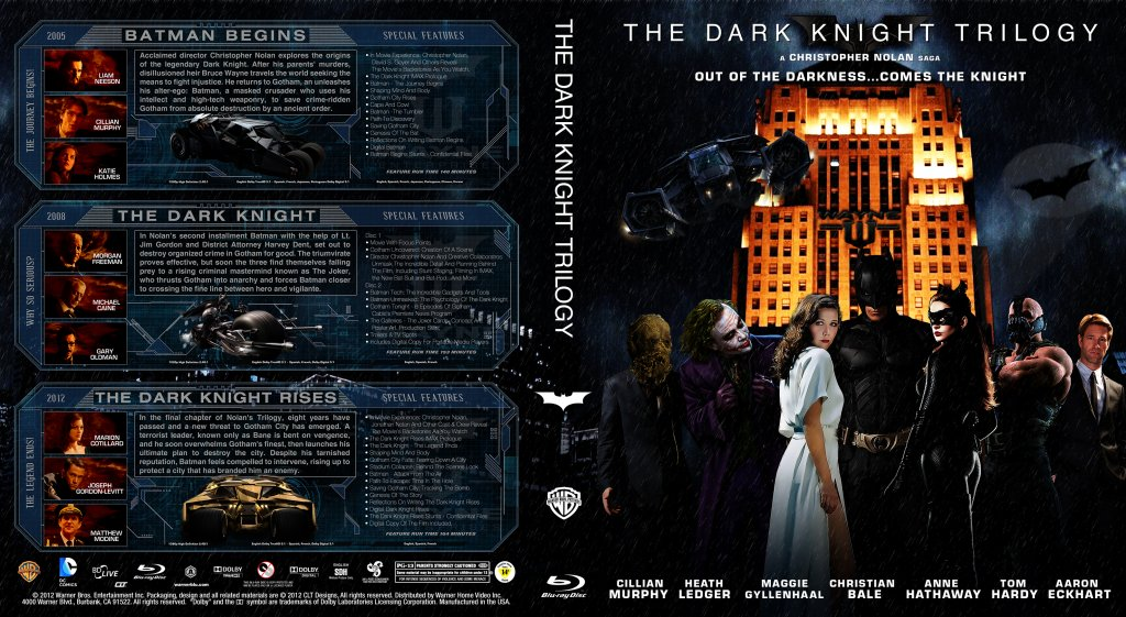 The Dark Knight Trilogy Movie Blu Ray Custom Covers
