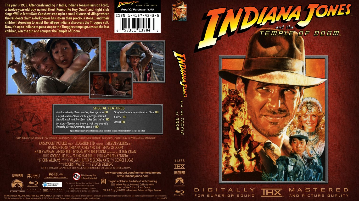 Indiana Jones And The temple Of Doom - Movie Blu-Ray ...