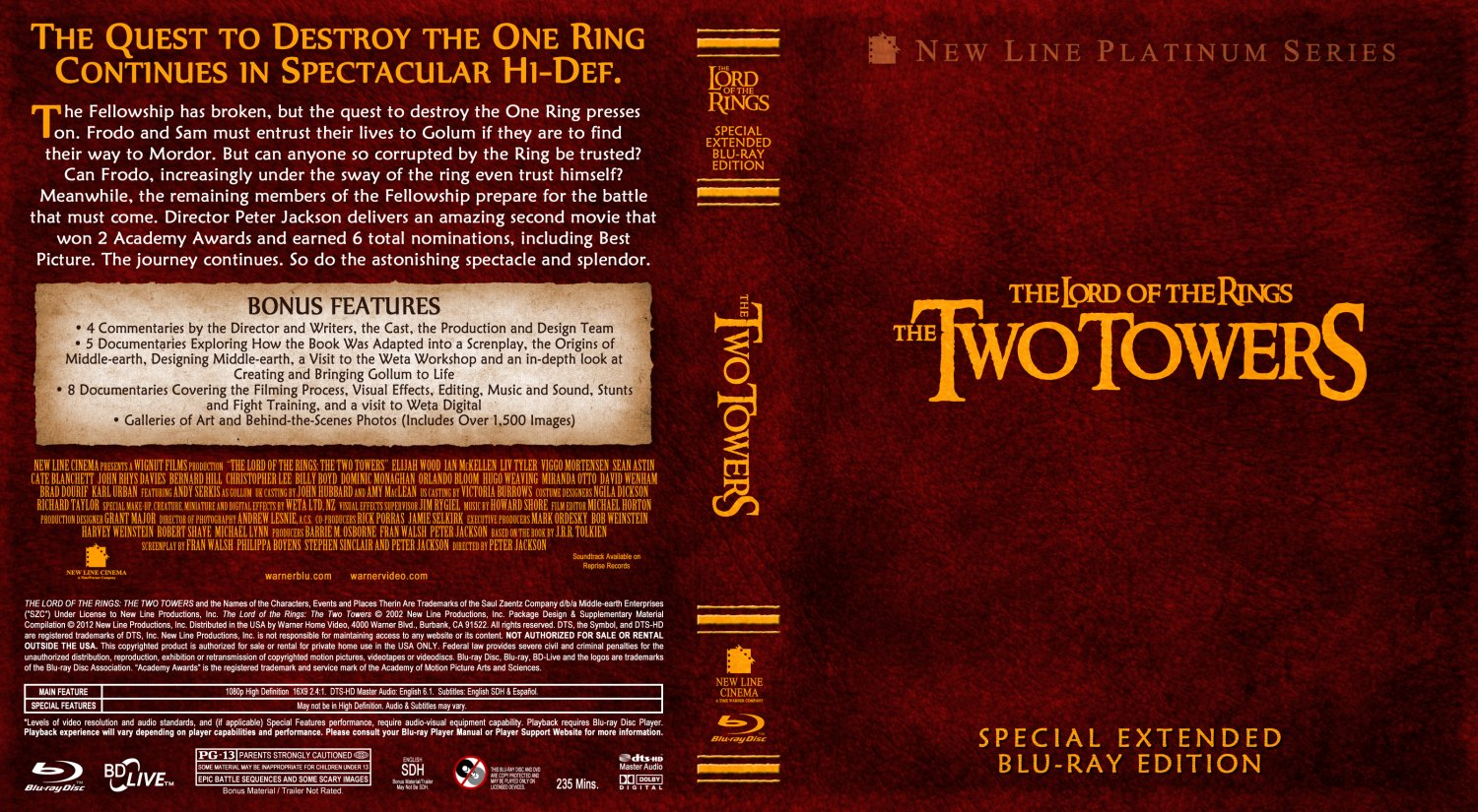 The Lord Of The Rings 2 - The Two Towers - Movie Blu-Ray ...