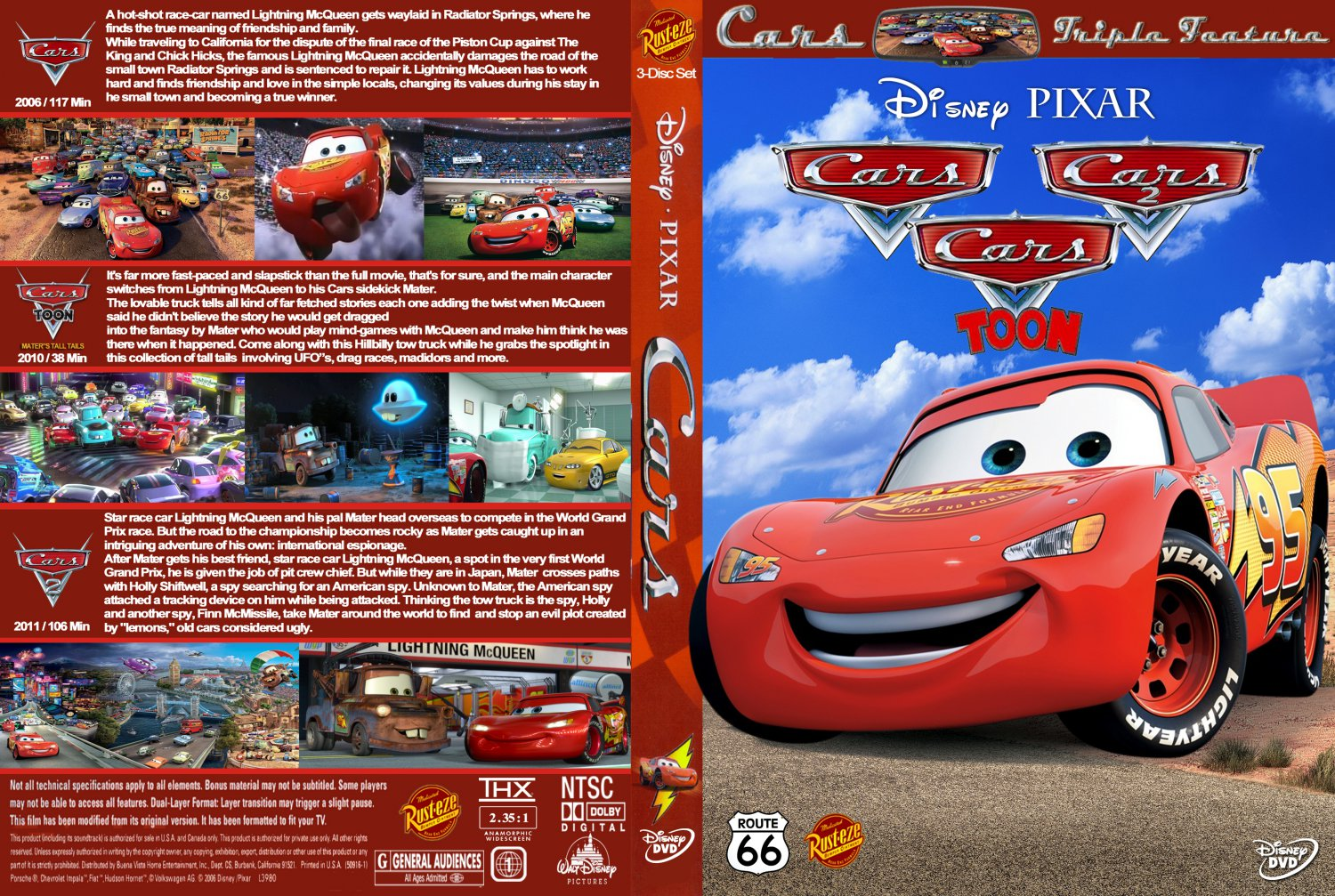 Cars trilogy movie dvd custom covers cars trilogy v2 for 2 1 2 box auto