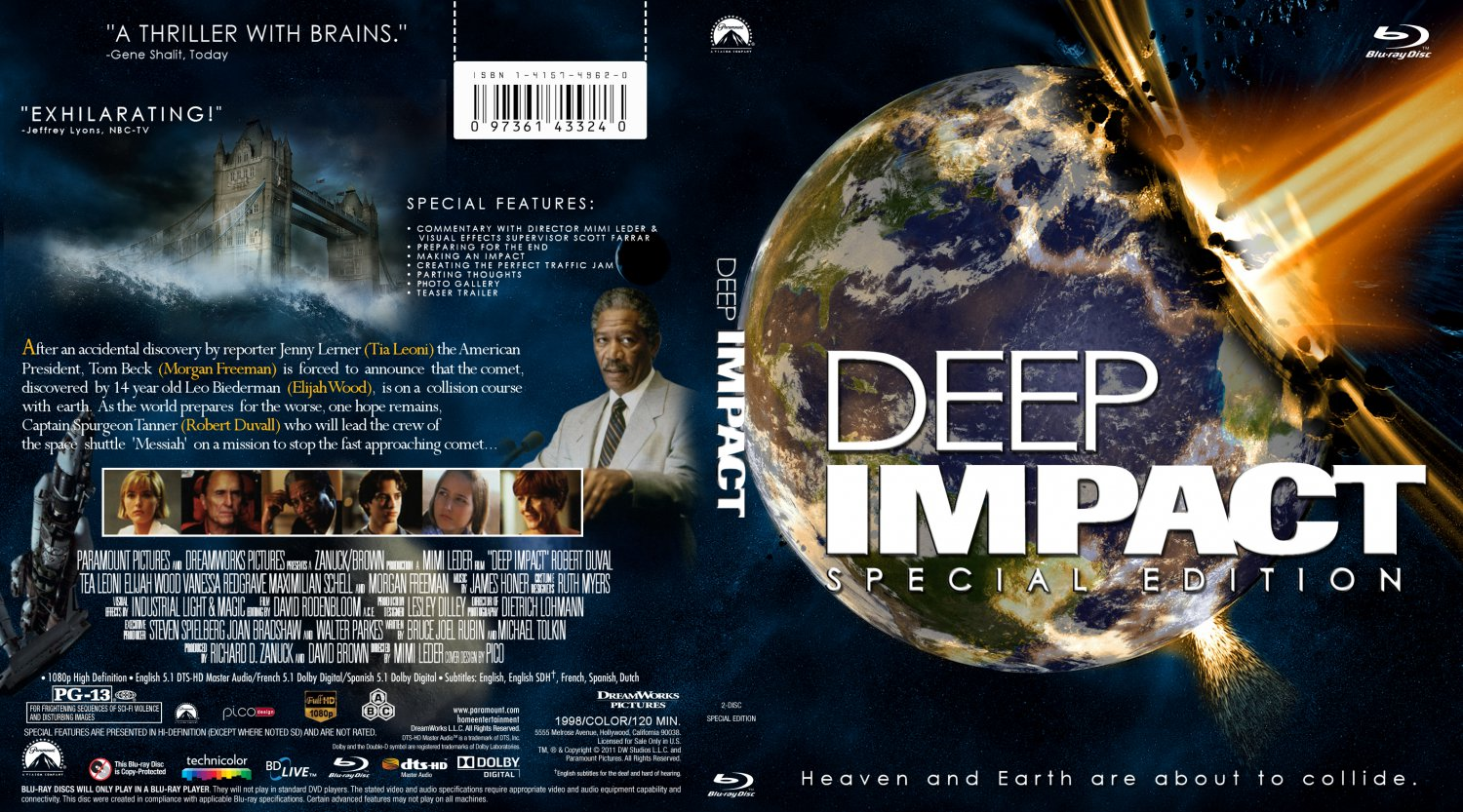 deep impact movie blu ray scanned covers deep impact. Black Bedroom Furniture Sets. Home Design Ideas