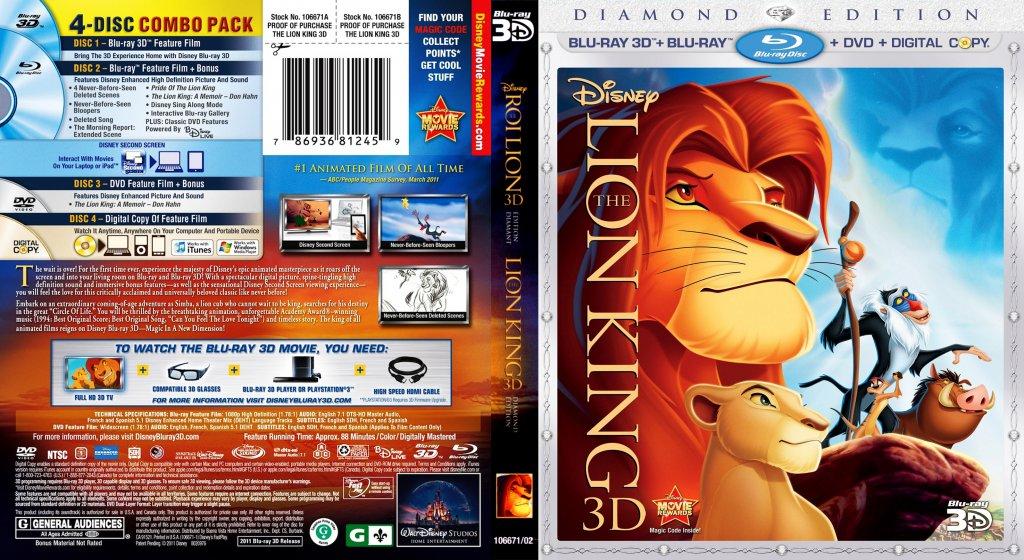 The Lion King Movie Blu Ray Scanned Covers The Lion King 3d Diamond Edition Custom Bluray Dvd Covers