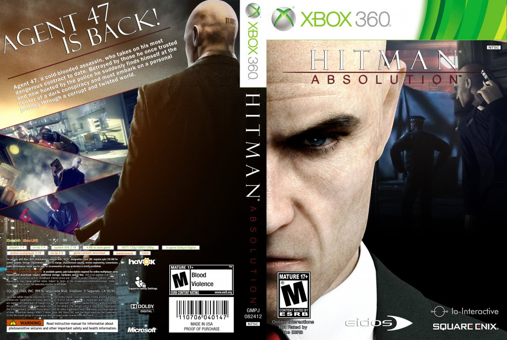 Hitman Absolution Xbox 360 Game Covers Hitman Absolution Dvd Ntsc Custom F2 Dvd Covers