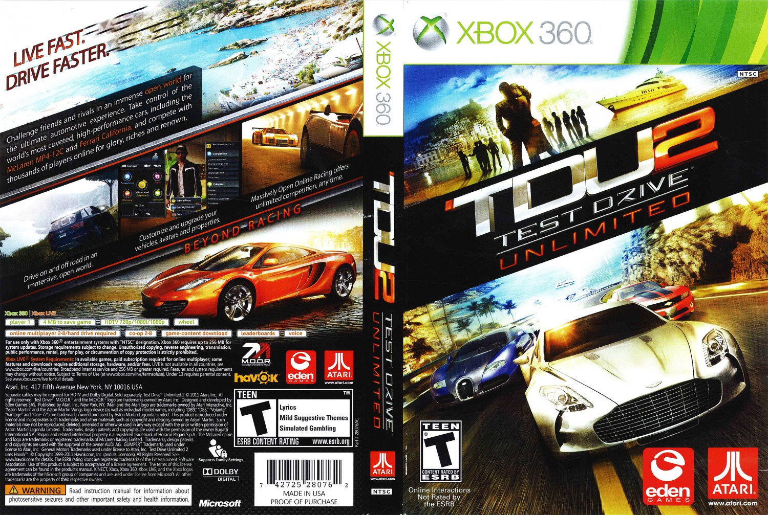 TDU2 Test Drive Unlimited 2 DVD NTSC f.