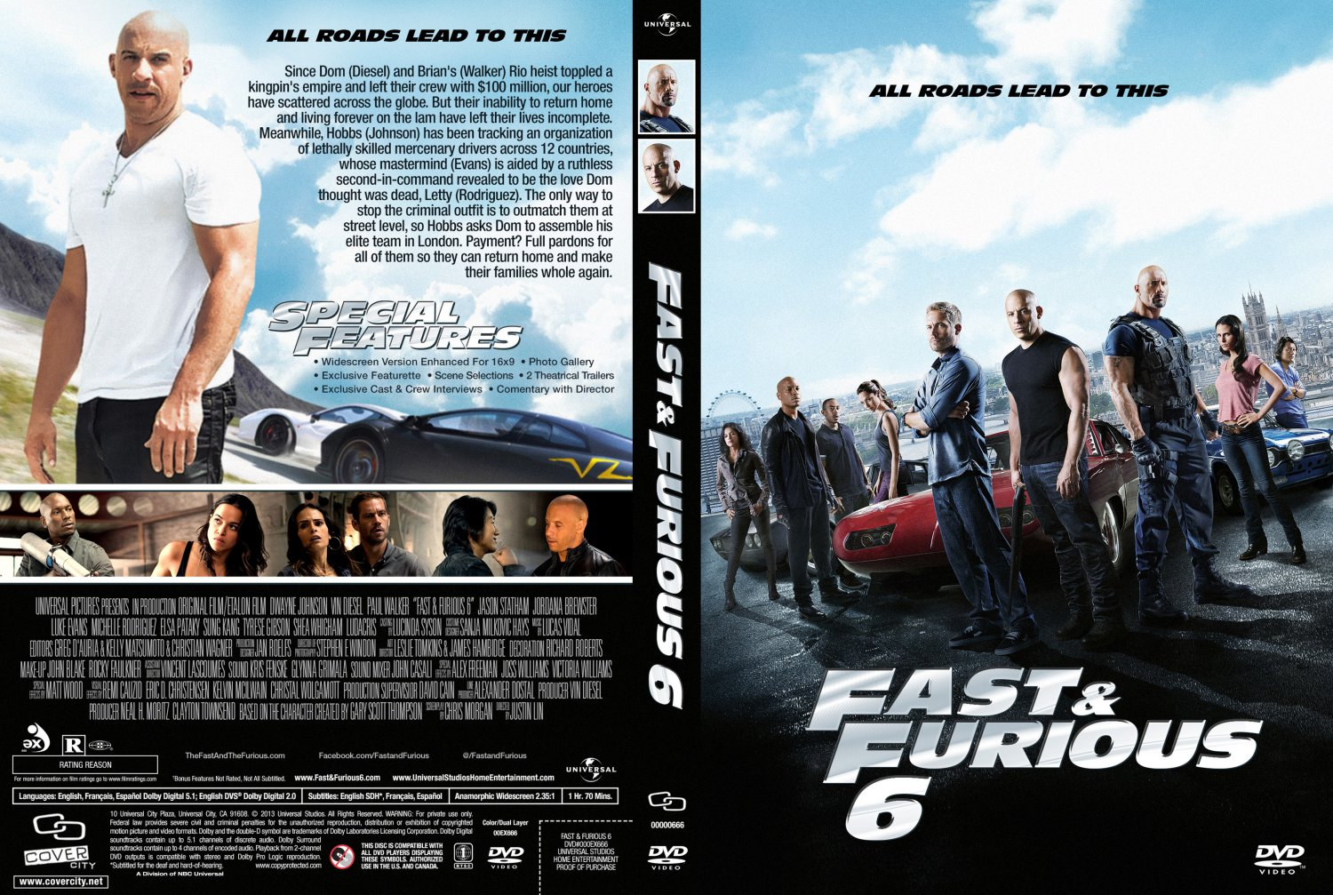fast and furious 6 movie dvd custom covers fast. Black Bedroom Furniture Sets. Home Design Ideas