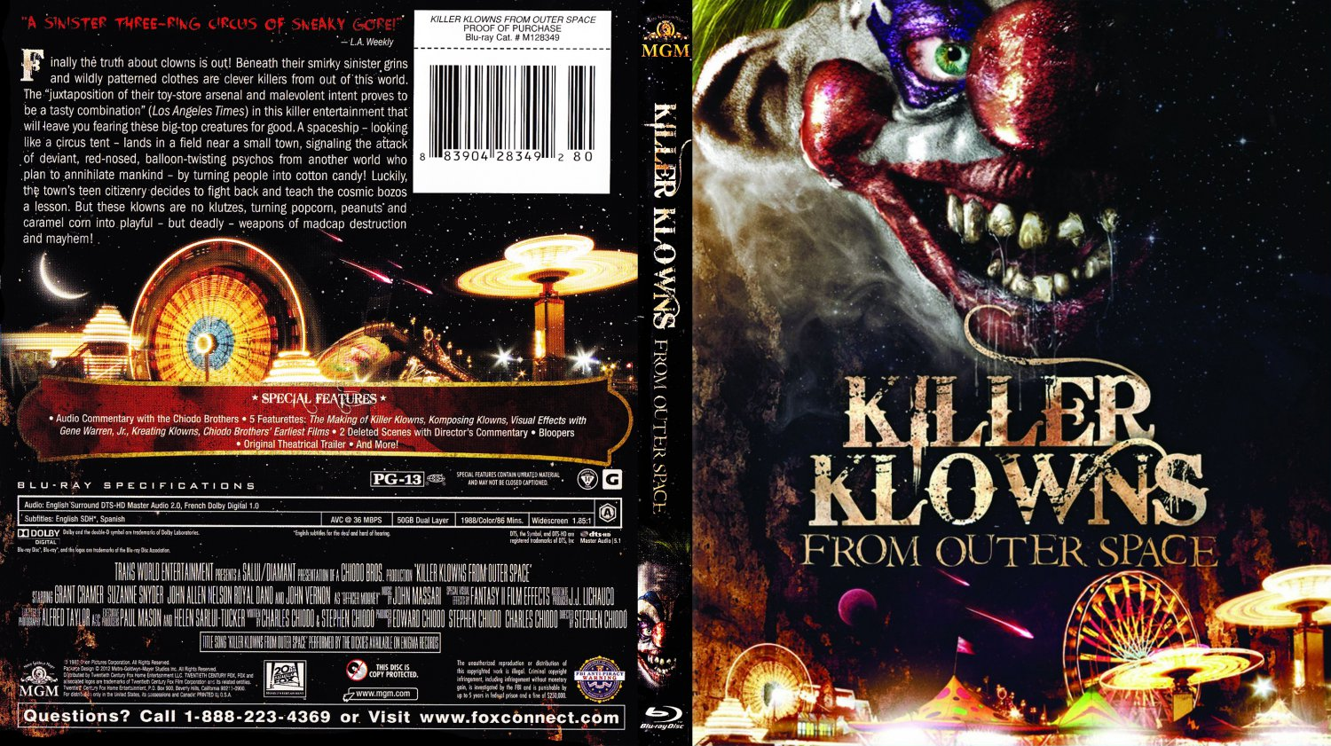 Killer klowns from outer space movie blu ray scanned for Return of the killer klowns from outer space