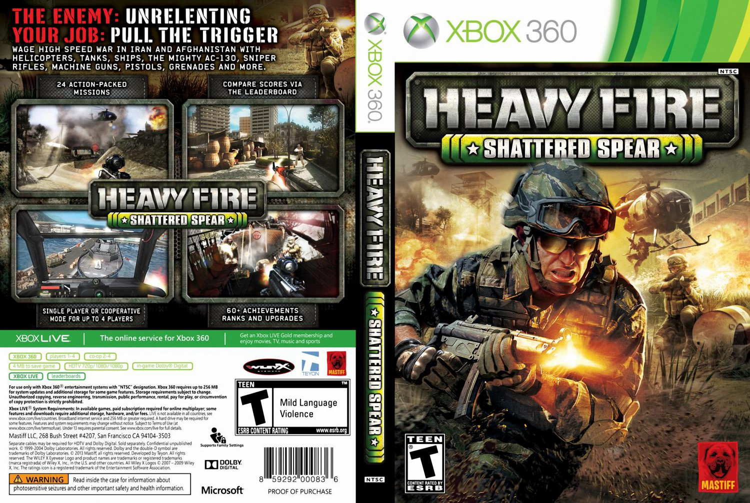 Heavy Fire : Shattered Spear XBOX 360 - XBOX 360 Game ...