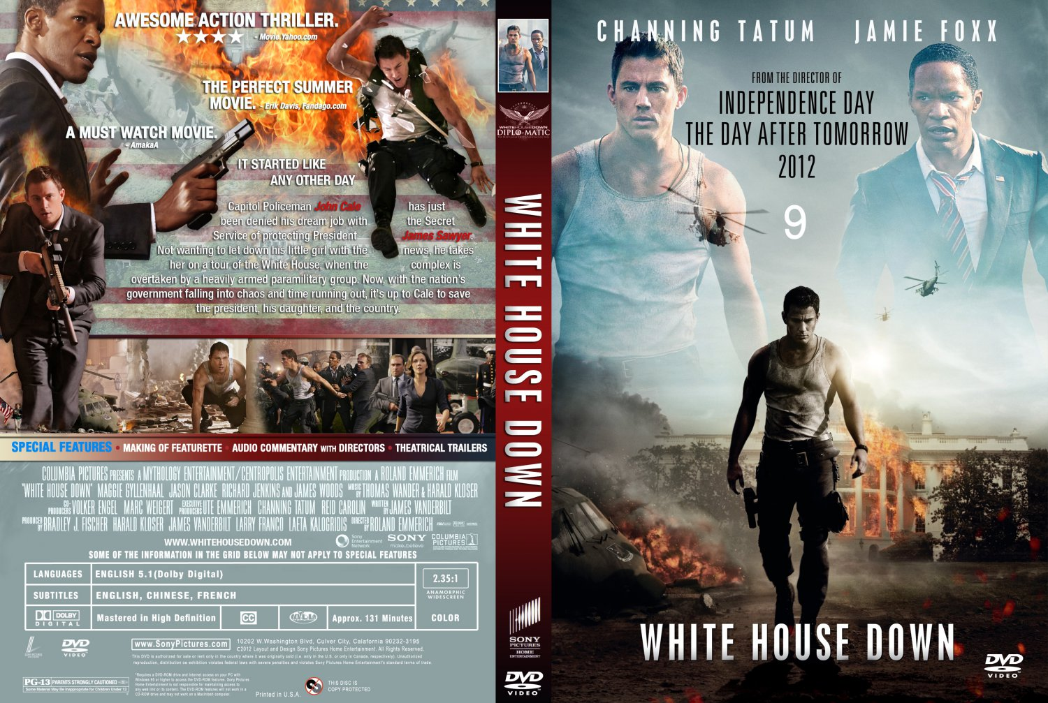 white house down movie dvd custom covers white house down 2013 custom cover dvd covers. Black Bedroom Furniture Sets. Home Design Ideas